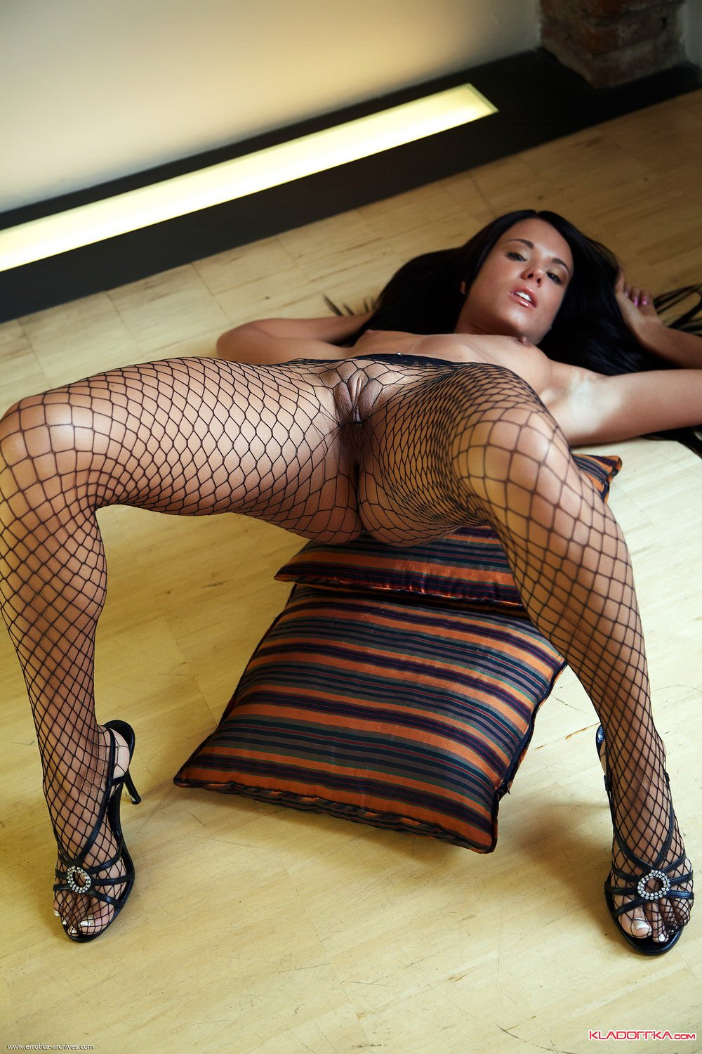 Naked In Fishnets