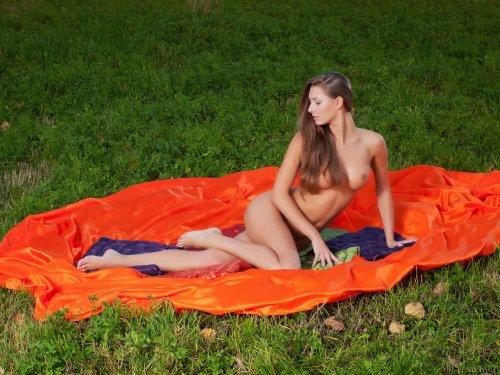 Русская сексуальная девушка Elizabeth делает эротические фото на природе