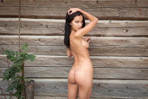 Фото обнажённой брюнетки Megan с сексуальным стройным телом в деревне