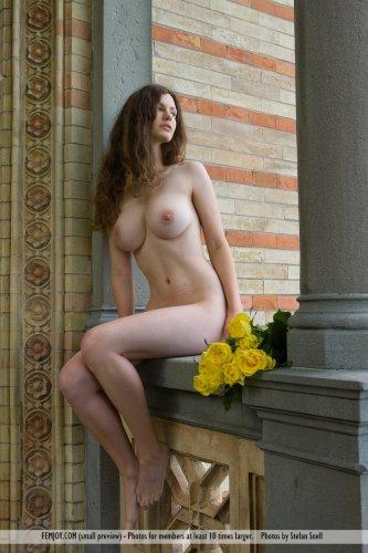Сисястая Susann с букетом жёлтых роз