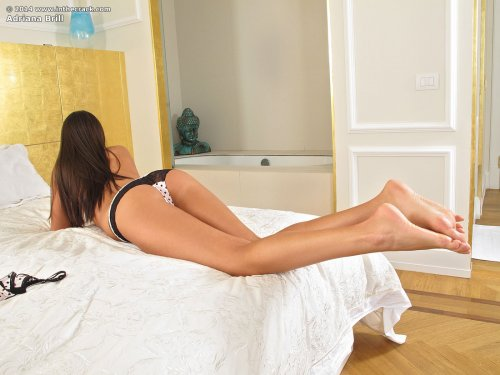 Порнозвезда Adriana Brill мастурбирует фиолетовым вибратором в спальне