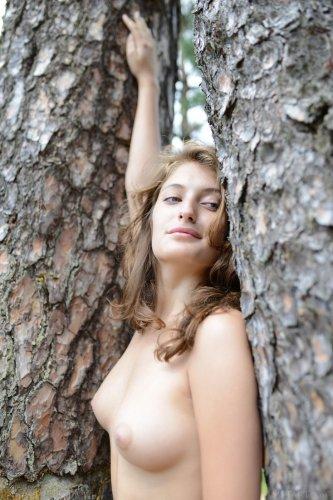 Моя развратная любовница Jessica G на эротических фото в лесу без одежды