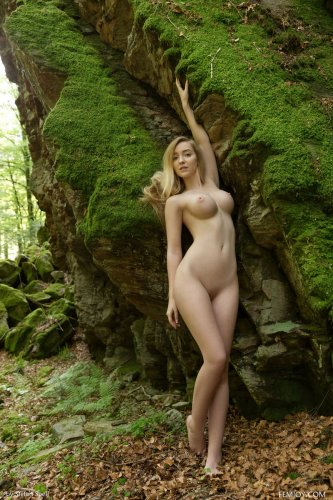 Прекрасная Acacia с идеальными формами позирует в лесу